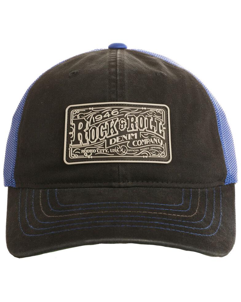 Rock & Roll Denim Men's Rubber Logo Patch Trucker Cap , Black, hi-res