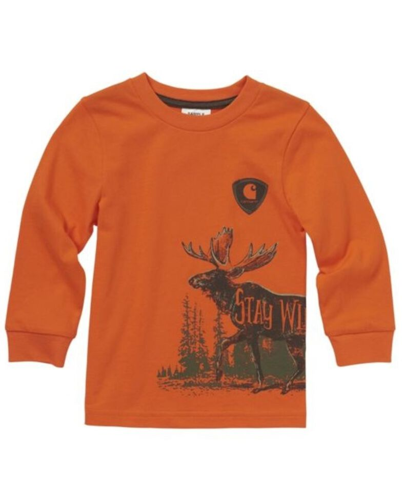Carhartt Boys' Stay Wild Wrap Graphic Long Sleeve T-Shirt , Orange, hi-res