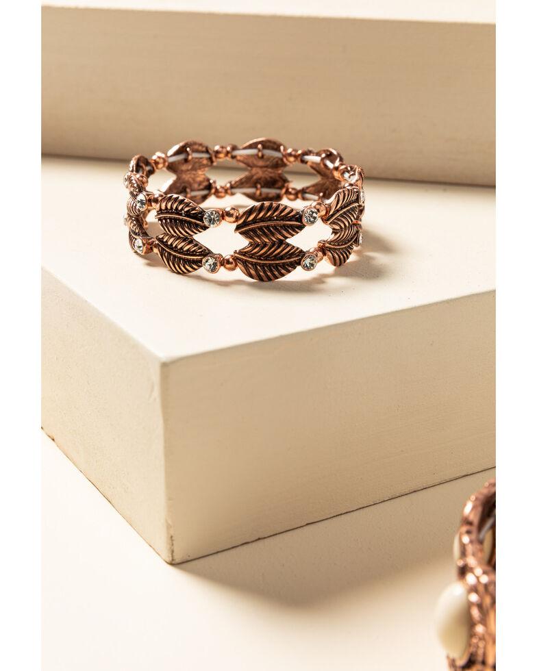 Shyanne Women's Desert Dreams Turquoise Stone Stretch Bracelet Set , Rust Copper, hi-res