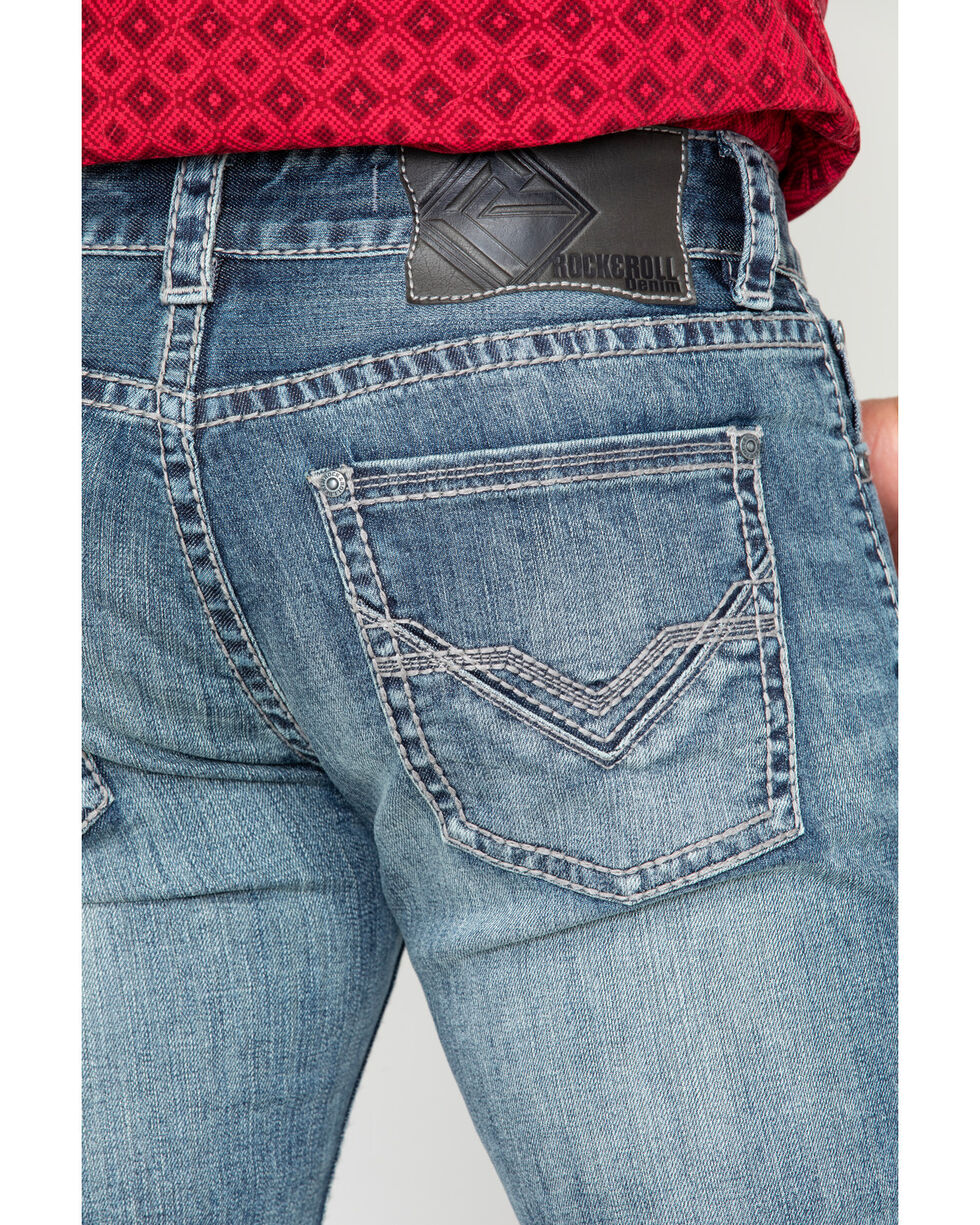 Rock & Roll Cowboy Men's Reflex Pistol Boot Jeans , Blue, hi-res