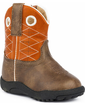 Roper Infant Boys' Cowbabies Boone Criss Cross Embroidered Cowboy Boots - Round Toe, Brown, hi-res