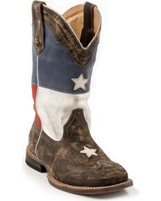 Roper Kid's Americana Texas Flag Square Toe Boots, Brown, hi-res