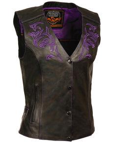Milwaukee Leather Women's Reflective Tribal Design Vest - 5X, Black/purple, hi-res
