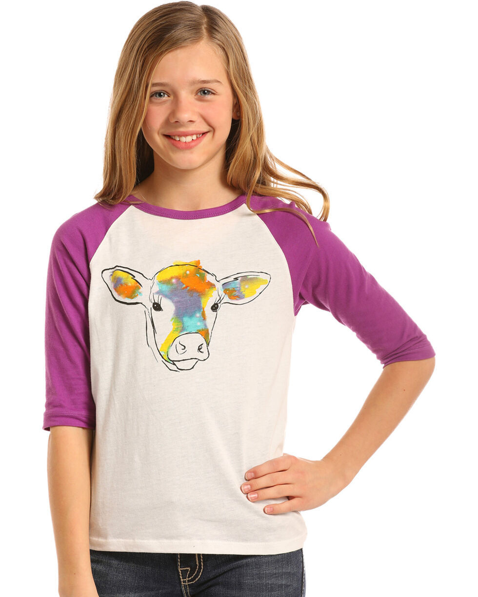 Rock & Roll Cowgirl Girls' Watercolor Cow Graphic Tee, Purple, hi-res