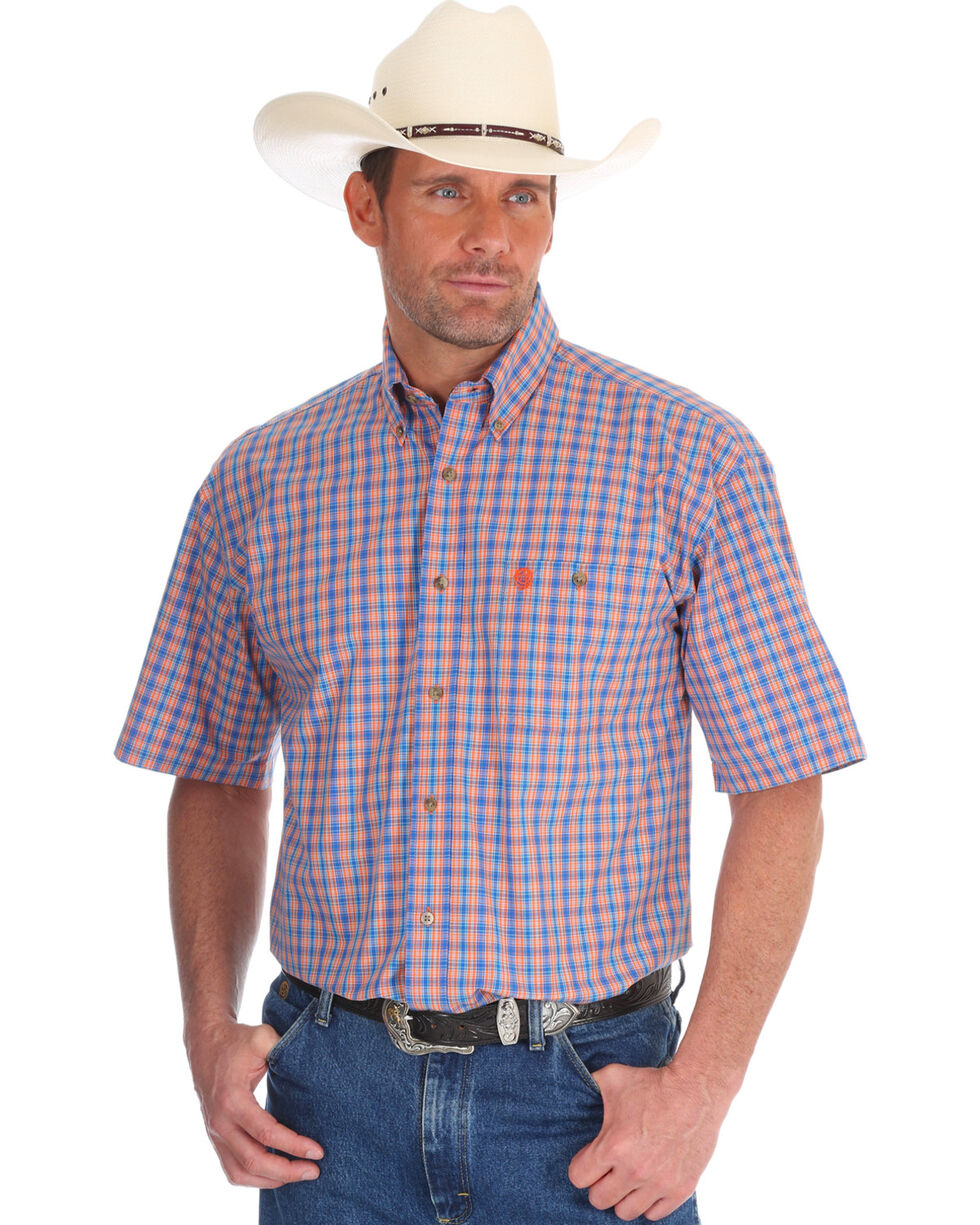 Wrangler Men's George Strait Plaid Short Sleeve Shirt , Orange, hi-res