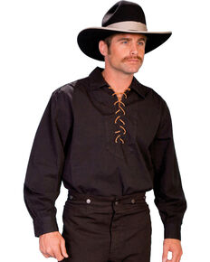 Rangewear by Scully Leather Lace Up Shirt - Big & Tall, Black, hi-res