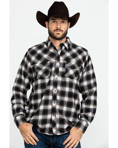 Outback Trading Co. Men's Rogan Performance Flannel Shirt  , Brown, hi-res