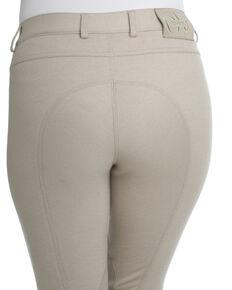 Ovation Women's Euro Jean Zip Front Knee Patch Breeches, Beige, hi-res