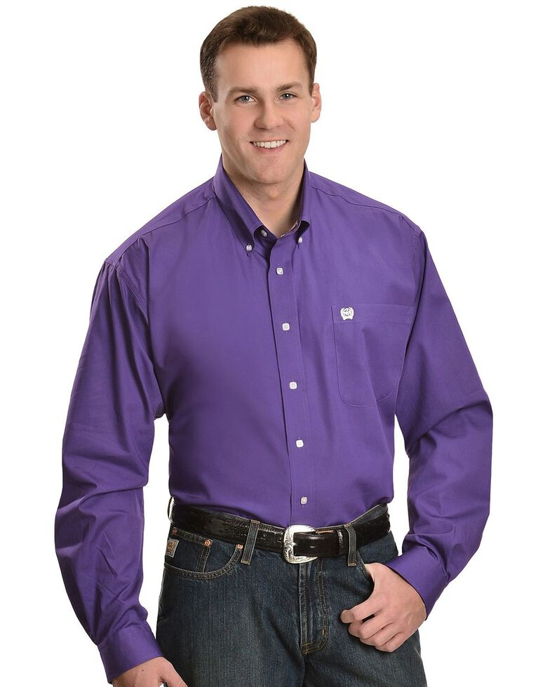 Cinch Men's Solid Purple Button-Down Long Sleeve Western Shirt, Purple, hi-res
