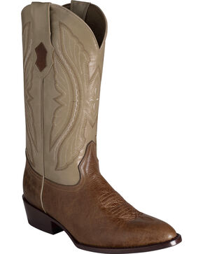 Ferrini Men's Antique Tan Kangaroo Western Boots - Round Toe, Tan, hi-res