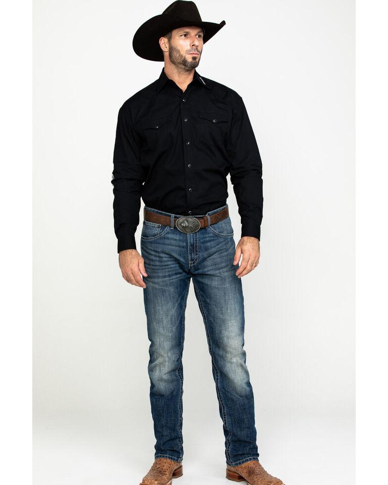 Stetson Men's Black Solid Logo Long Sleeve Western Shirt , Black, hi-res