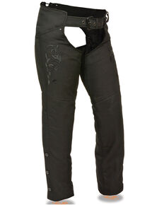 Milwaukee Leather Women's Reflective Tribal Embroidered Textile Chaps - 5X, Black, hi-res