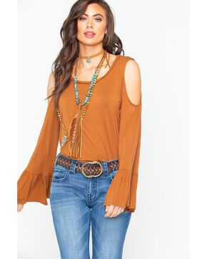 Wrangler Women's Solid Cold Shoulder Bell Sleeve Fashion Top , Brown, hi-res