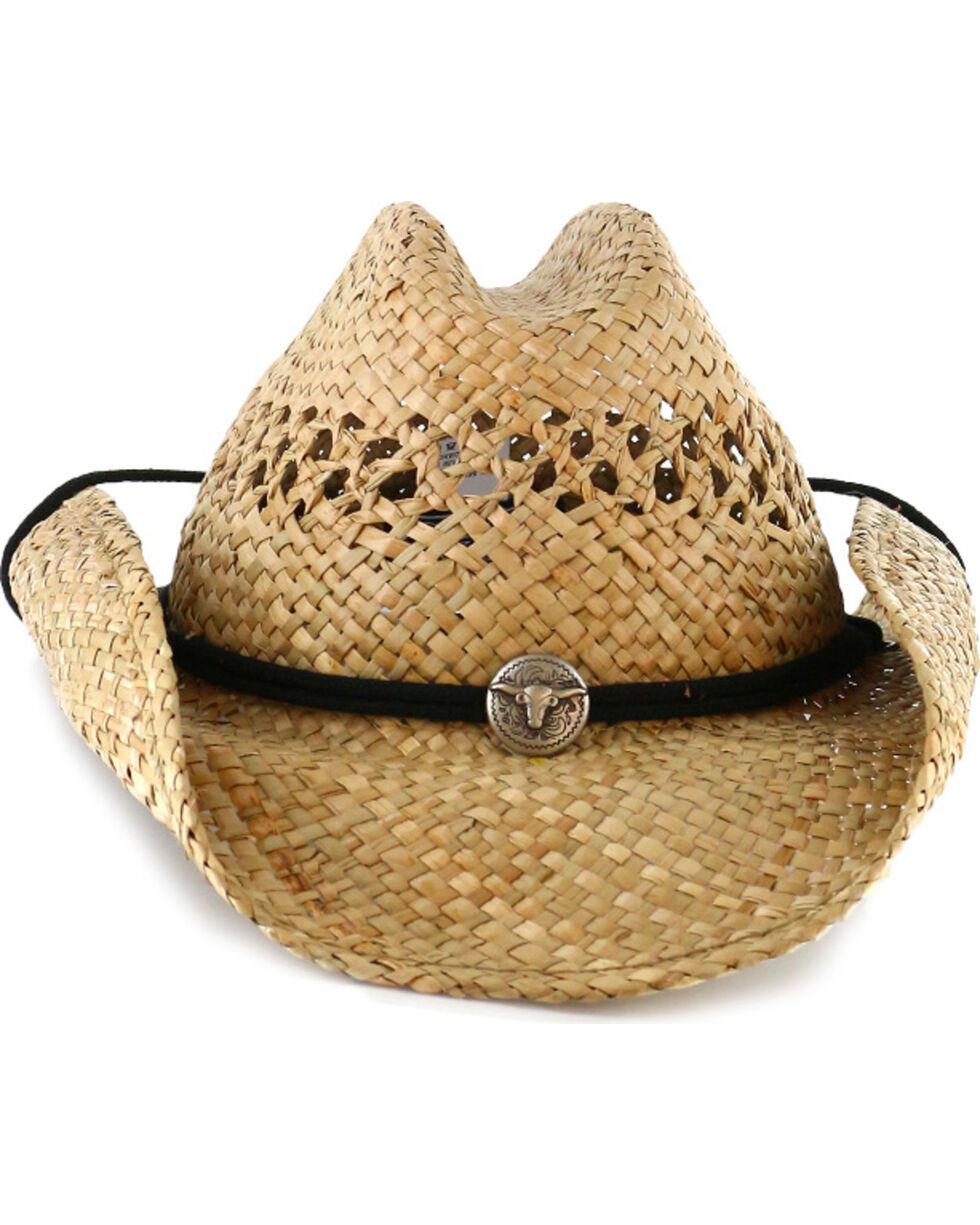 Cody James® Men's Longhorn Concho Straw Cowboy Hat, Natural, hi-res