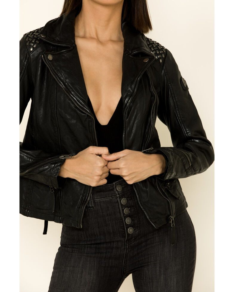 Mauritius Women's Happy Studded Shoulder Leather Jacket , Black, hi-res