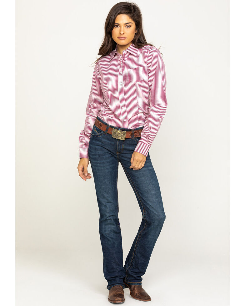 Cinch Women's Purple & White Stripe Long Sleeve Western Shirt, Purple, hi-res