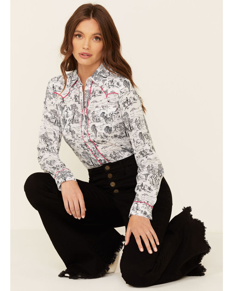 Roper Women's White Scenic Print Long Sleeve Snap Western Core Shirt , White, hi-res