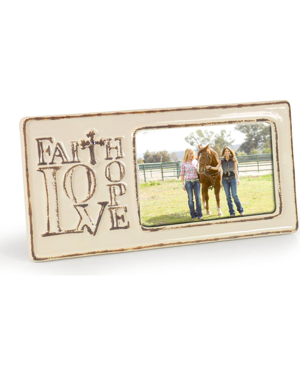 Stonebriar Worn Ceramic Faith Love Hope Picture Frame, No Color, hi-res