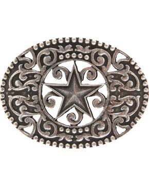 AndWest Men's Antique Pewter Stars & Scrolls Belt Buckle, Silver, hi-res