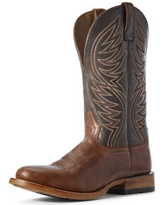 Ariat Men's Slick For Red Western Boots - Round Toe, Brown, hi-res