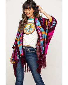 Rock & Roll Cowgirl Women's Fringe Trim Poncho, Multi, hi-res