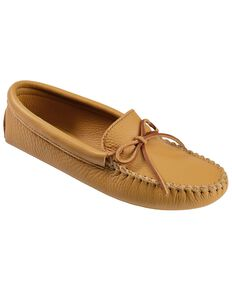Men's Minnetonka Double Deerskin Softsole Moccasins, Natural, hi-res
