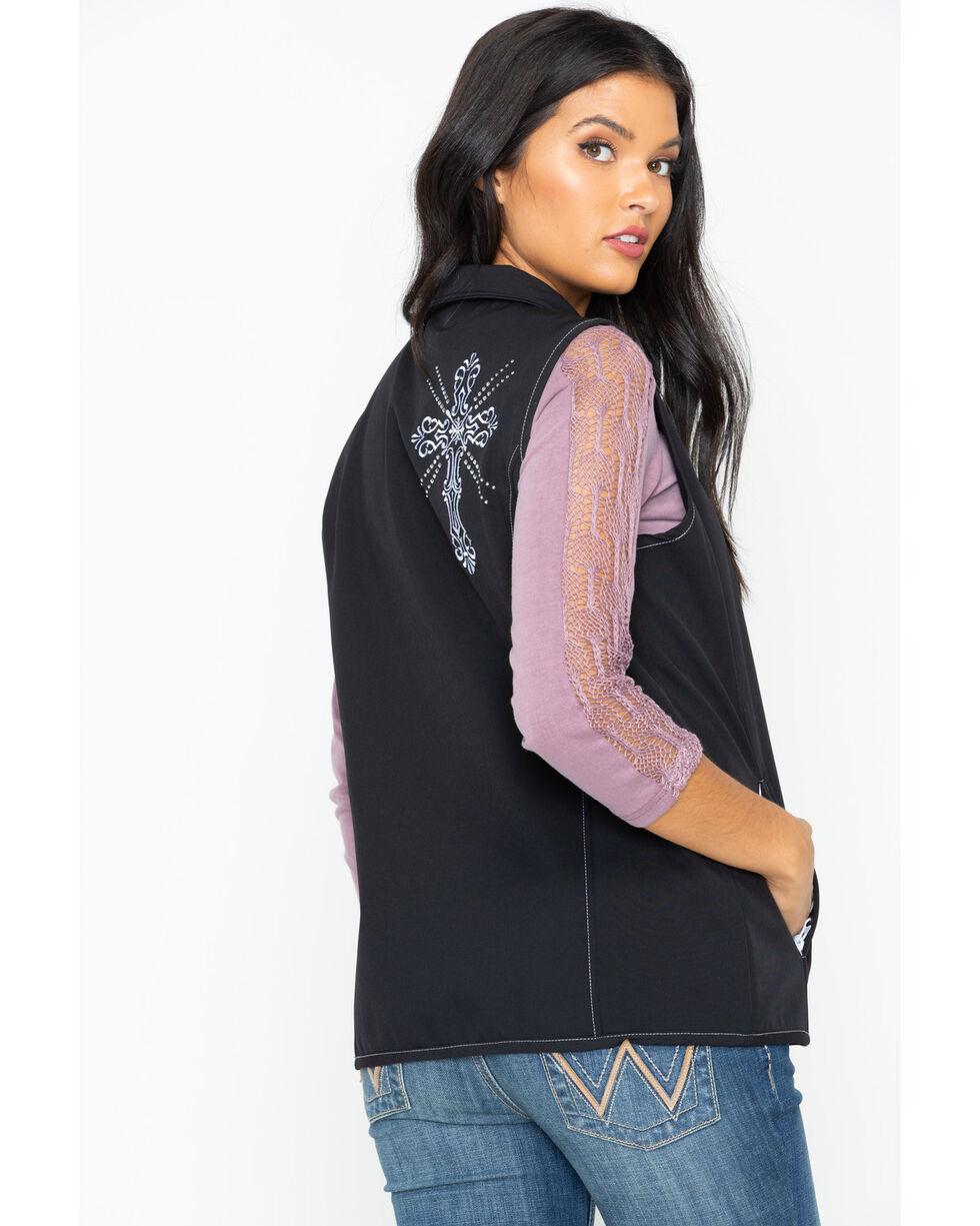 Cowboy Hardware Women's Swirl Cross Poly Shell Vest , Black, hi-res