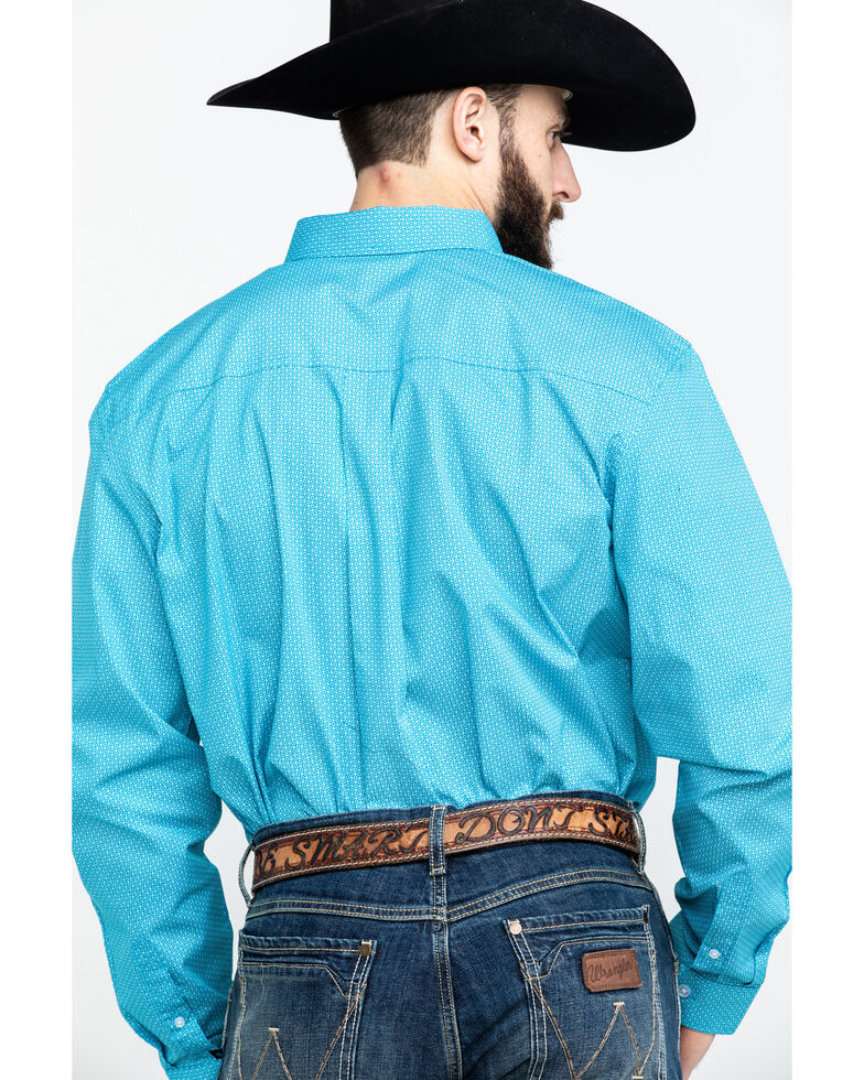 Cody James Core Men's Blurred Vision Geo Print Long Sleeve Western Shirt , Turquoise, hi-res