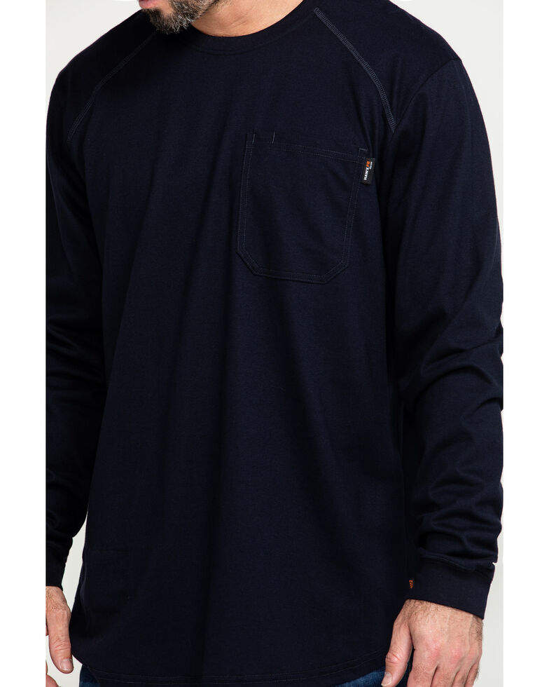 Hawx Men's Navy FR Pocket Long Sleeve Work T-Shirt - Big , Navy, hi-res