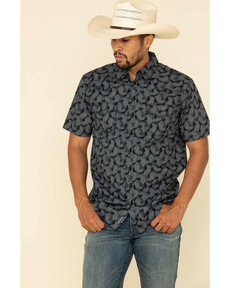 Moonshine Spirit Men's Excalibur Paisley Print Short Sleeve Western Shirt , Black, hi-res