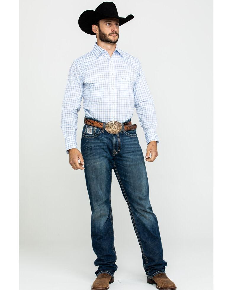 Wrangler Men's Wrinkle Resistant Small Plaid Long Sleeve Western Shirt, Blue, hi-res