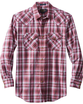 Pendleton Men's Long Sleeve Frontier Plaid Shirt, Dark Pink, hi-res