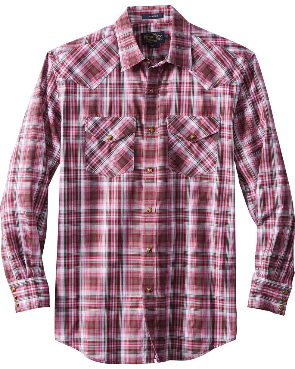 Pendleton Men's Long Sleeve Frontier Plaid Shirt, Dark Pink, hi-res