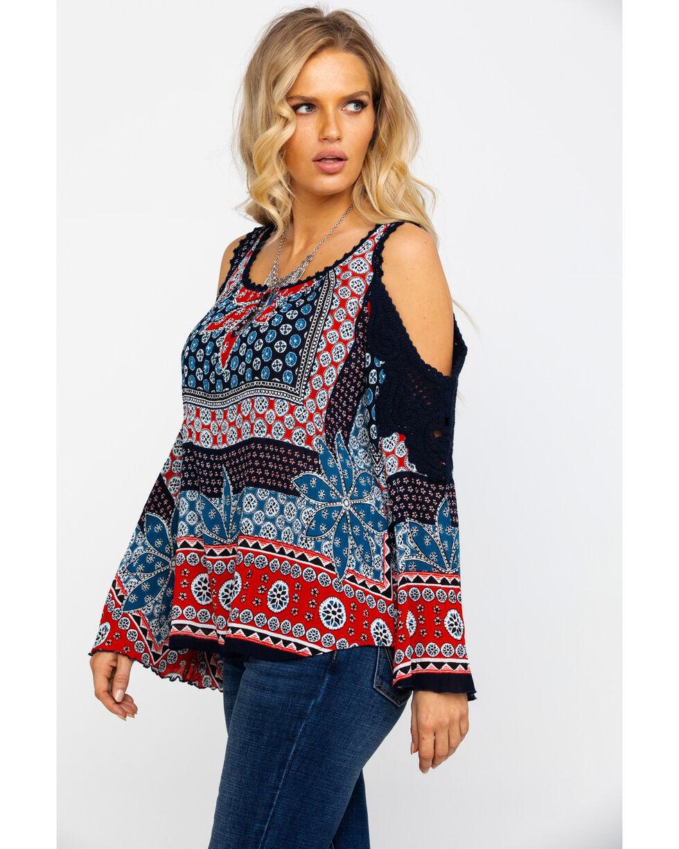 Bila Women's Boho Americana Cold Shoulder Top , Blue, hi-res