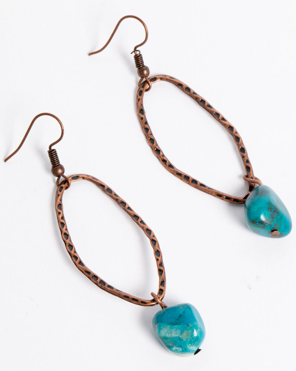Jewelry Junkie Women's Hammered Copper African Turquoise Earrings , Turquoise, hi-res