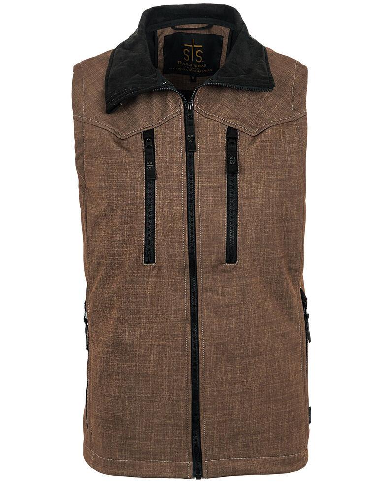 STS Ranchwear Men's Heather Brown Perf Vest , Black/brown, hi-res