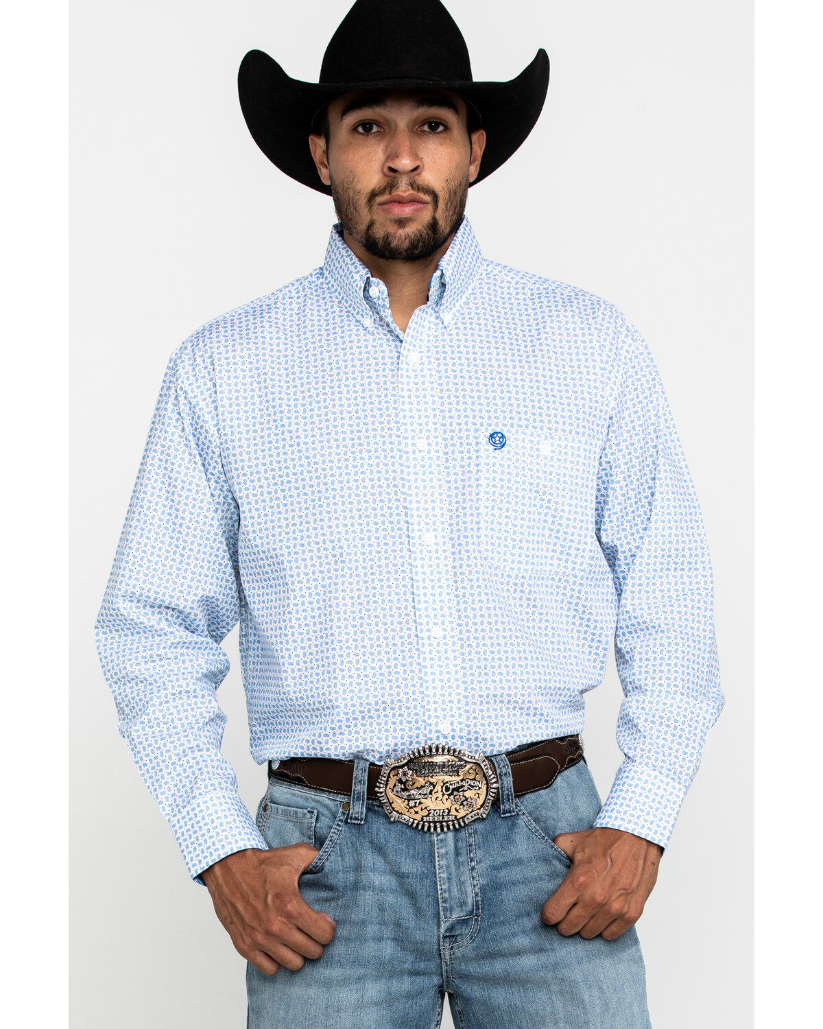 Wrangler Mens George Strait by Purple Geo Print Long Sleeve Western Shirt Purple X-Large