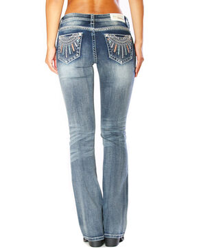Grace In LA Women's Tribal Low Rise Boot Cut Jeans, Blue, hi-res