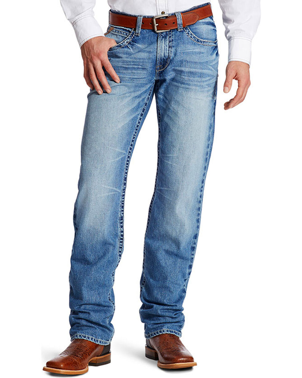 Ariat Men's Faded Relaxed Fit Boot Cut Jeans, Indigo, hi-res