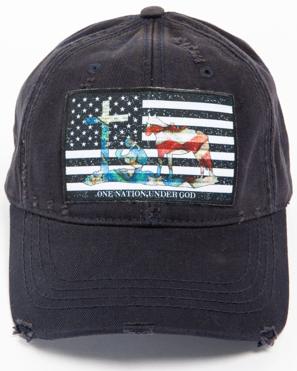 Cody James Men's Faith American Flag Distressed Ball Cap, Navy, hi-res