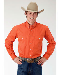 Roper Men's Orange Solid Long Sleeve Western Shirt, Orange, hi-res