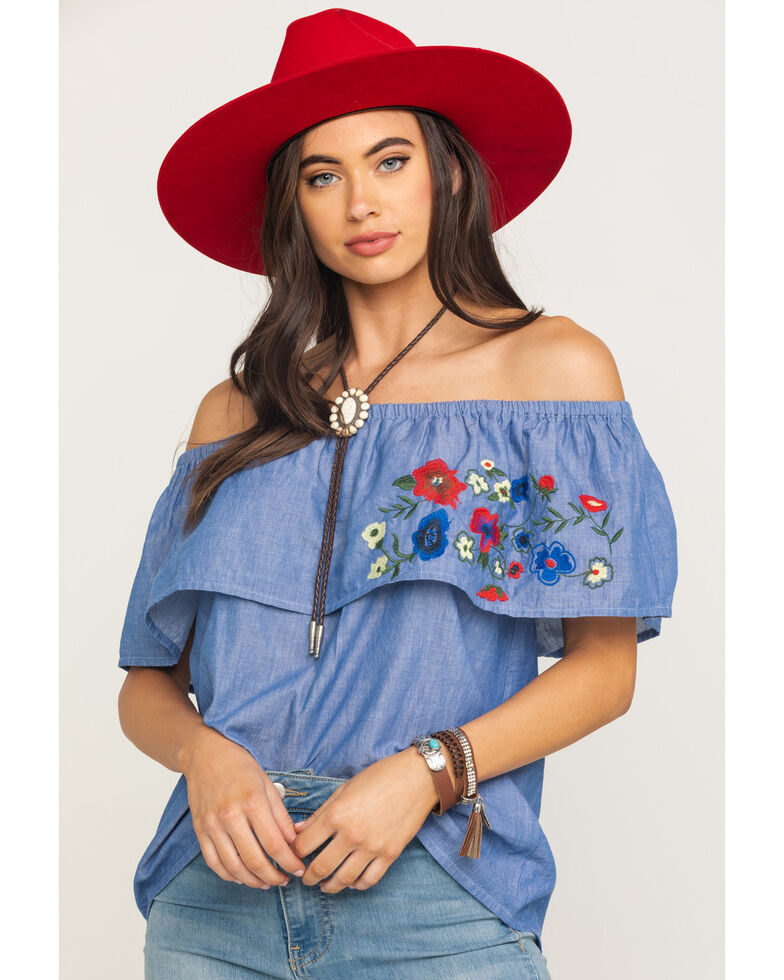 Five Star Women's Blue Floral Embroidered Off Shoulder Short Sleeve Top, Blue, hi-res