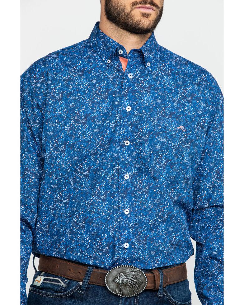 Resistol Men's Goddard Floral Print Long Sleeve Western Shirt , Blue, hi-res