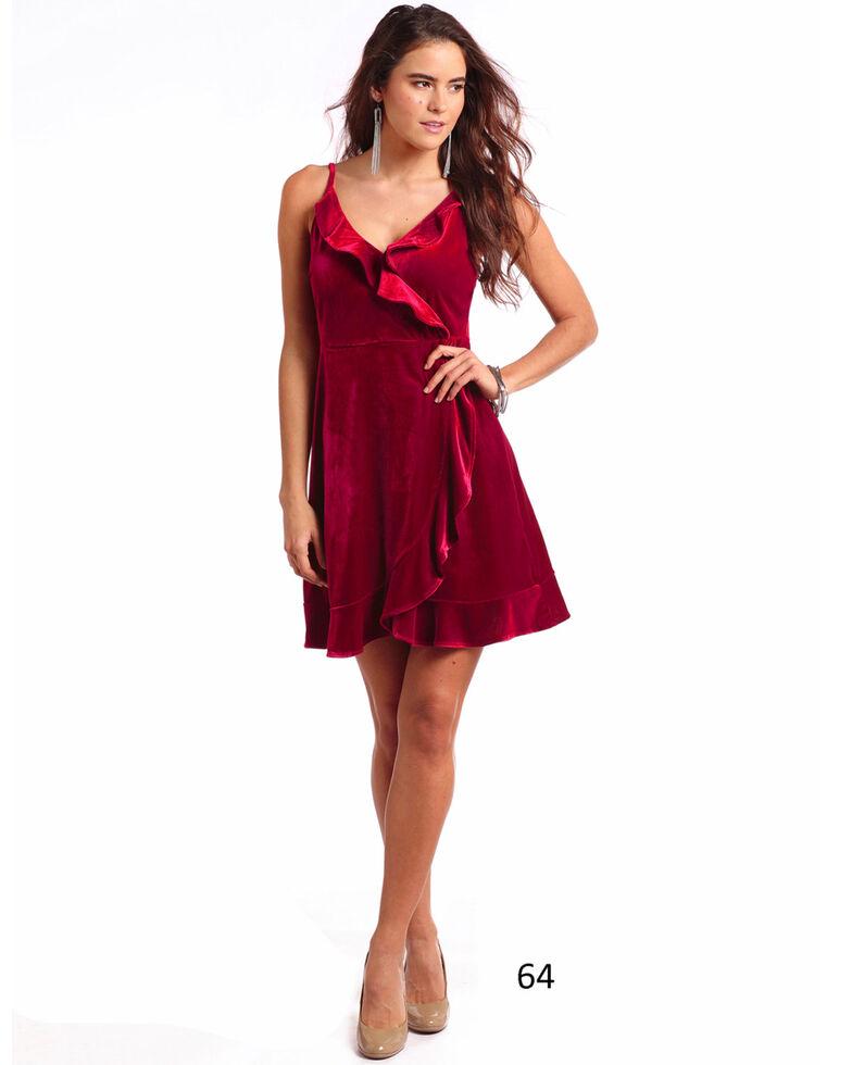 Panhandle Women's Velvet Ruffle Wrap Dress, Red, hi-res