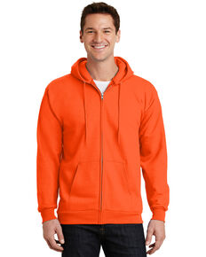 Port & Company Men's Safety Orange Essential Fleece Full Zip Hooded Work Sweatshirt - Tall , Orange, hi-res