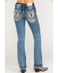 Miss Me Women's Floral Winged Embroidered Med Boot Jeans , Blue, hi-res