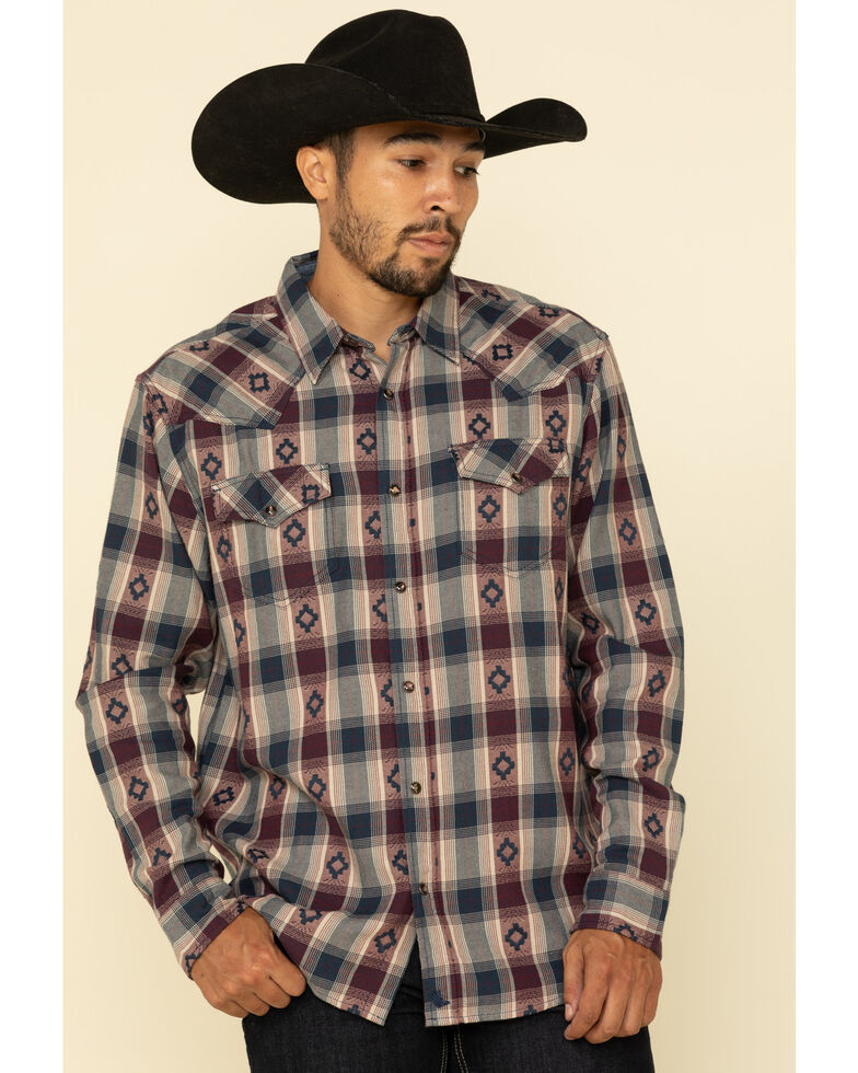 Cody James Men's High Plains Dobby Plaid Long Sleeve Western Flannel Shirt , Burgundy/navy, hi-res