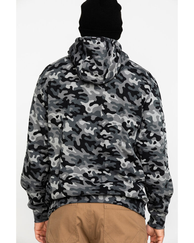 Hawx® Men's Black Camo Reflective Logo Performance Hooded Work Sweatshirt , Black, hi-res