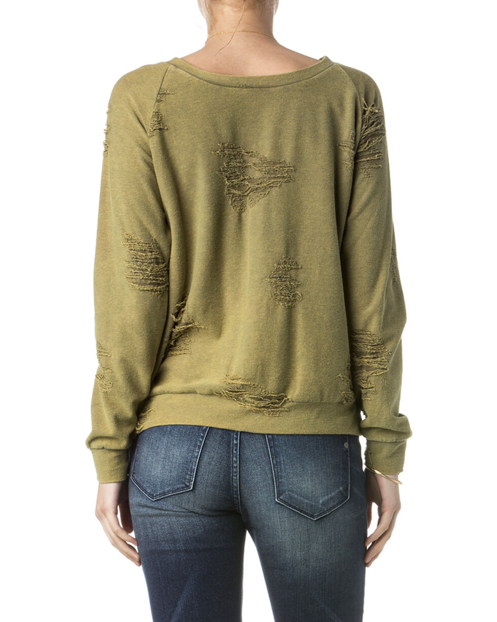 Miss Me Women's Olive Destructed Sweatshirt , Olive, hi-res