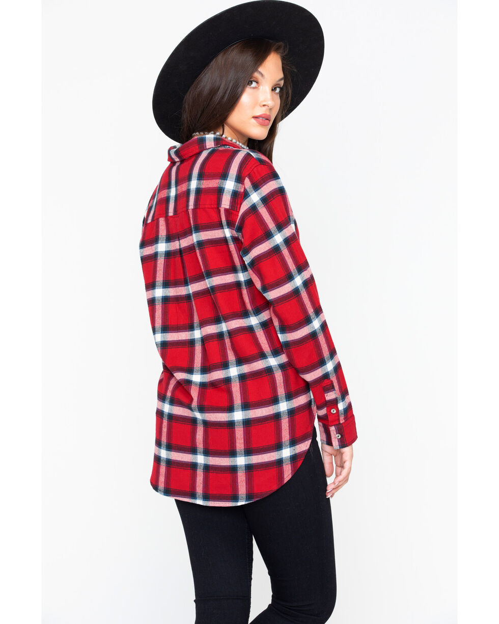 Wrangler Women's Red Boyfriend Flannel Plaid Shirt , Red, hi-res